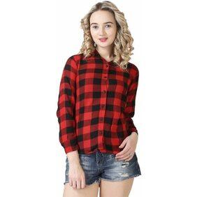 Trendy Frog Women Long Sleeve Cotton Checker Shirt;