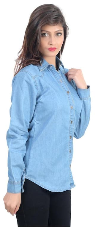 Sleeve Trendy Blue;X Long Large Frog Size Denim Women Shirt;Light qwxw7BagC