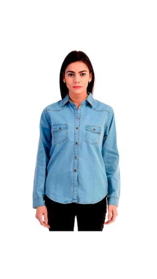 Trendy Frog Women Long Sleeve Denim Shirt;Light Blue;Medium Size