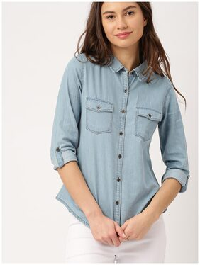 Trendy Frog Women Light TP full Denim Shirt;Blue;Small