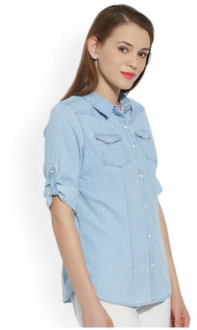 d2fa928bd Trendy Frog Women Long Sleeve Denim Solid Shirt Top;Light Blue;X-Large