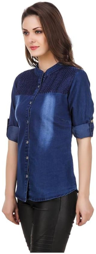 Trendy Frog Women Long Sleeve Solid Denim Shirt Top with Embroiderry;Blue;Large Size