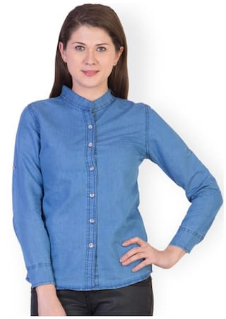 Trendy Frog Women Long Sleeve Denim Solid Shirt Top;Light Blue;Large Size