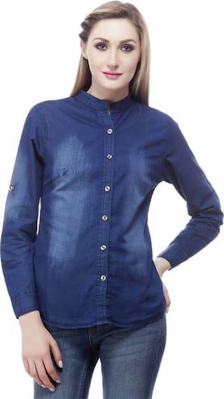 Trendy Frog Women Dark Monk Chinease denim Full shirt;Blue;Large