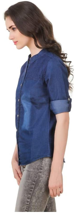 emboidary shirt;Blue;Small Denim Full Women Dark Frog Trendy twqHRAS