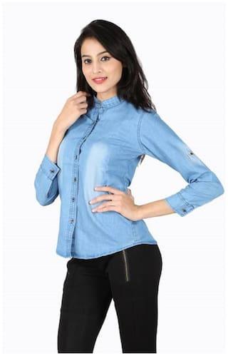 Trendy Long Shirt Blue;Medium Frog Size Sleeve Top;Light Wash Denim Monkey SOq6O5xnr