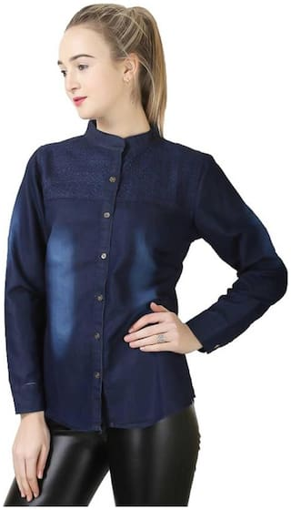 Trendy Frog Women Long Sleeve Solid Denim Shirt Top with Embroiderry;Blue;Medium Size