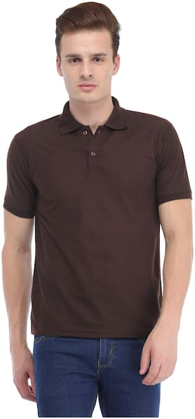 Trendy Trotters Men Brown Regular fit Cotton Lycra Polo collar T-Shirt - Pack Of 1