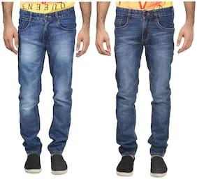 Trendy Trotters Men's Cotton Light Blue & Dark Blue Non Lycra Jeans Pack-2