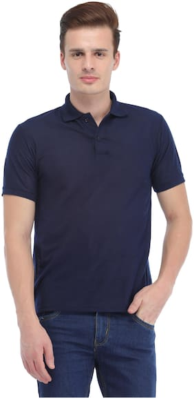 Trendy Trotters Men Navy blue Regular fit Cotton Lycra Polo collar T-Shirt - Pack Of 1