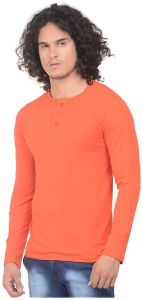 Trendy Trotters Men Orange Regular fit Cotton Blend Henley neck T-Shirt - Pack Of 1