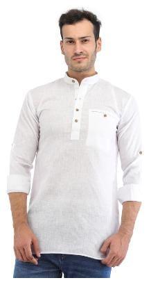 Trendy Trotters Men Short Cotton Solid Kurta - White