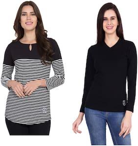 SBO FASHION Women Black Regular fit Round neck & V neck Cotton T shirt