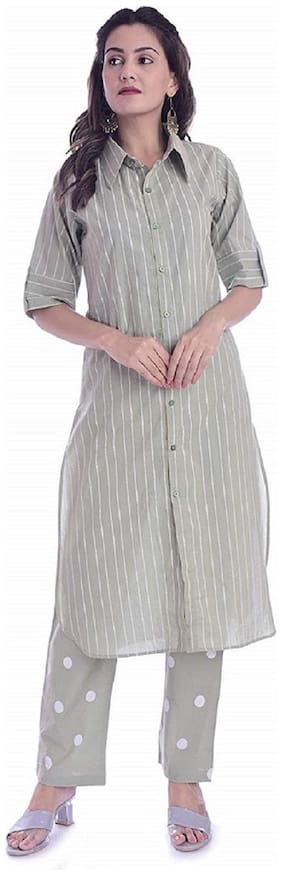 The Mini NEEDLE Women Green Striped Straight Kurta With Palazzo