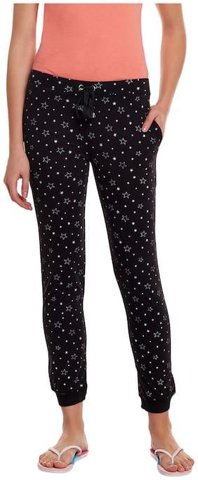 TRENDYGAL Women Regular fit Cotton Printed Track pants - Black