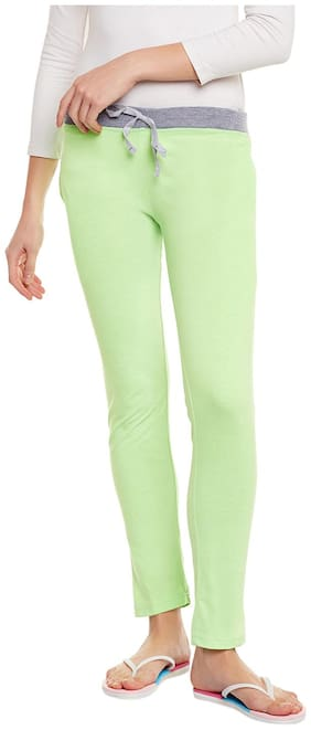 TRENDYGAL Women Regular fit Cotton Solid Track pants - Green