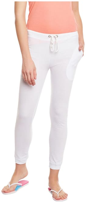 TRENDYGAL Women Regular fit Cotton Printed Track pants - White
