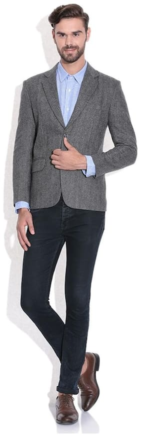 Tribes India Grey Wool Blazer