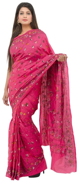 71a1132c150 Buy Tribes India Silk Kantha Embroidered Work Saree - Pink Online at ...