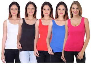 Trudam Black White Red Blue Pink Camisole & Tank Top Pack of 5