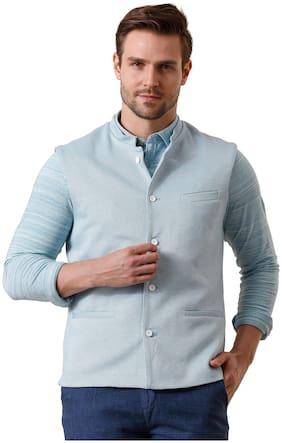 True Blue Men Blue Solid Slim Fit Ethnic Jacket