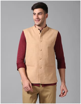 True Blue Men Beige Solid Slim Fit Ethnic Jacket