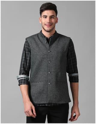 True Blue Men Grey Solid Slim Fit Ethnic Jacket