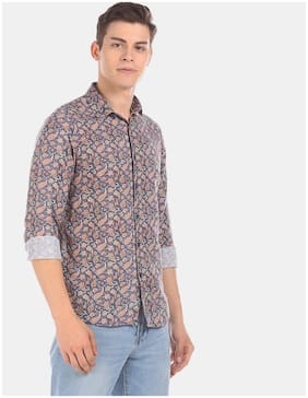 True Blue Men Navy Blue Printed Regular Fit Casual Shirt