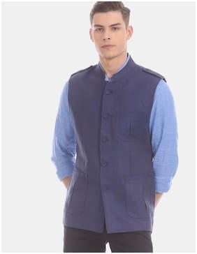 True Blue Men Linen Slim fit Waistcoat - Blue