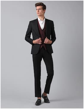 True Blue Men Polyester Solid Black  Tree Piece Suit