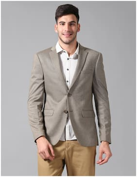 True Blue Men Brown Solid Slim fit Single Breasted Blazer