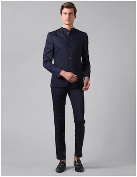 True Blue Men Blue Solid Slim fit Bandhgala Blazer and trouser