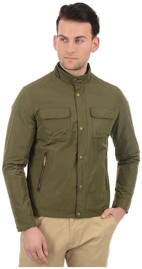 True Blue Men Green Solid Bomber jacket