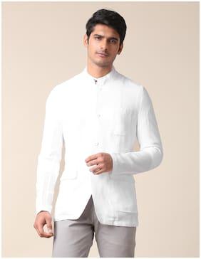 True Blue Men White Solid Slim fit Bandhgala Blazer