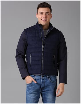 True Blue Men Blue Solid Quilted jacket