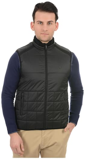 True Blue Men Black Solid Quilted jacket