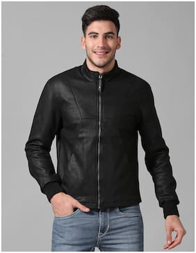 True Blue Men Black Solid Bomber jacket
