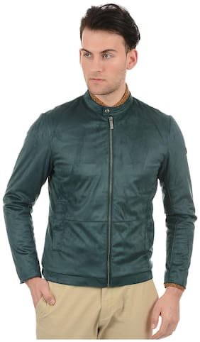 True Blue Men Green Solid Bomber jacket