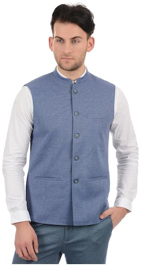 True Blue Men Blue Solid Slim Fit Ethnic Jacket