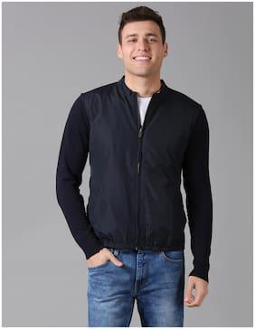 True Blue Men Blue Solid Bomber jacket