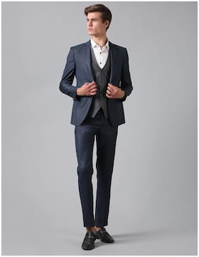True Blue Men Blue Blazer and Waistcoat with Trousers Three Piece Suit