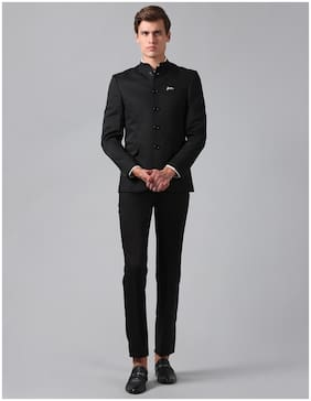 True Blue Men Black Solid Slim fit Bandhgala Blazer and trouser
