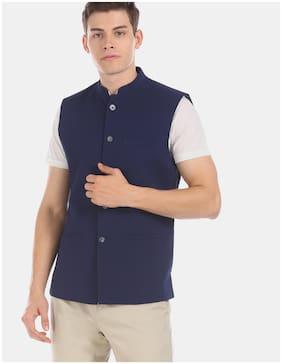 True Blue Men Polyester Regular fit Waistcoat - Blue