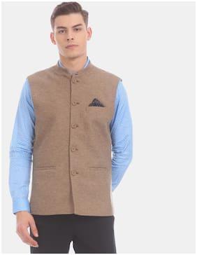 True Blue Men Polyester Slim fit Waistcoat - Brown