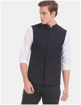 True Blue Polyester Textured Navy Blue Color Waistcoat For Men