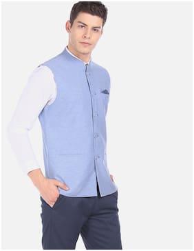 True Blue Men Viscose rayon Slim fit Waistcoat - Blue