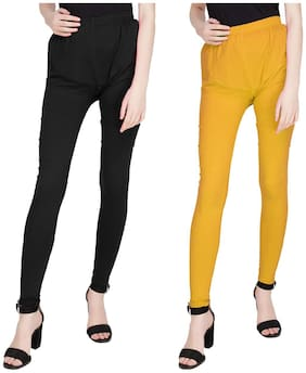 TruLuvFit Cotton Leggings - Black & Yellow