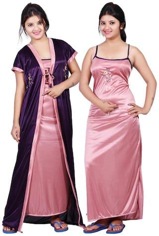TRUNDZ Pink & Purple Nighty with Robe