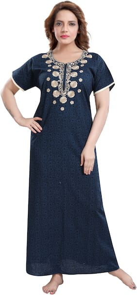 TRUNDZ Navy Blue Night Gown