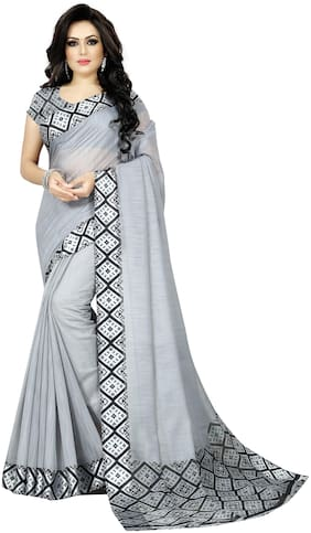 Trundz Womens Designer Cotton Blend Saree With Blouse Color Grey